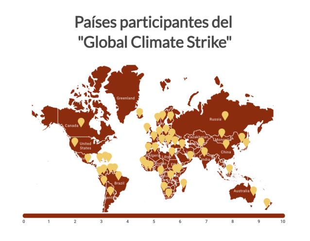 Países participantes del Global Climate Strike
